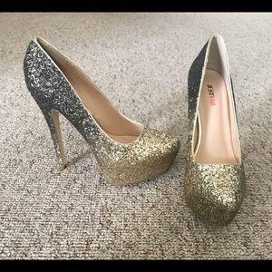 Just Fab, silver/gold glitter heels, size 8